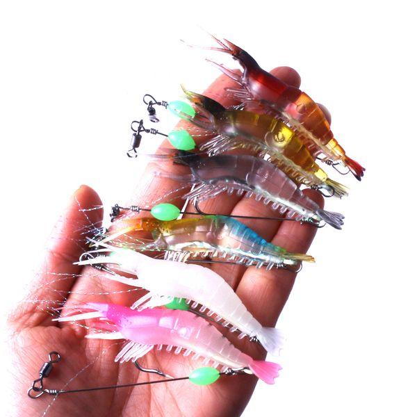 1pcs/lot Shrimp Soft Lure 8cm/5.3g Fishing Artificial Bait With Glow Hook Swivels Anzois Para Pesca Sabiki Rigs Fishing Lure