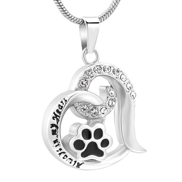 Vendita all'ingrosso Cute Paw Print Forever Love Heart Collana con ciondolo per gioielli da donna Cremation Keepsakes