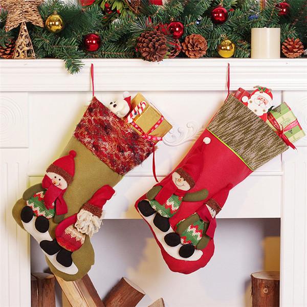 Christmas Tree Decorations Hanging Ornaments Christmas Stocking Merry Christmas Gift Bag Santa Sack Drawstring Candy Organizer