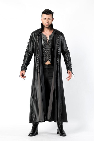 faux leather pvc long gothic coat fancy dress for men Halloween Party Dracula Vampire Costumes Outfit Fancy Devil Cosplay Dresse