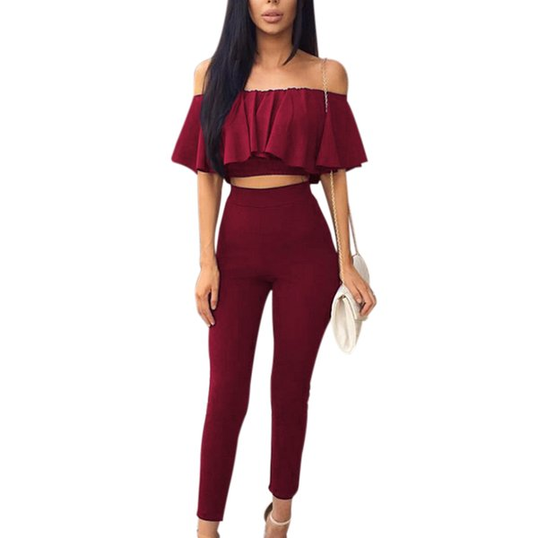 Summer Two Piece Set Women Ruffles Crop Top Long Pants Suits Tracksuit Sexy Ladies Off Shoulder Blouse Trousers 2 Piece Set