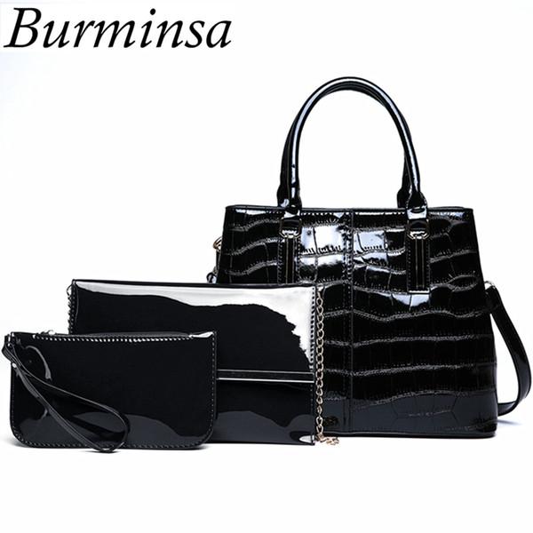Burminsa 3 Sets Crocodile Black Patent Leather Handbags Women Shoulder Messenger Bags Vintage Composite Bags With Clutch Purse