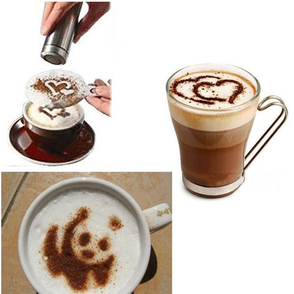 16pcs Coffee Stencil Filter Coffee Maker Cappuccino Mold Templates Strew Flowers Pad Spray Art Coffee Tools