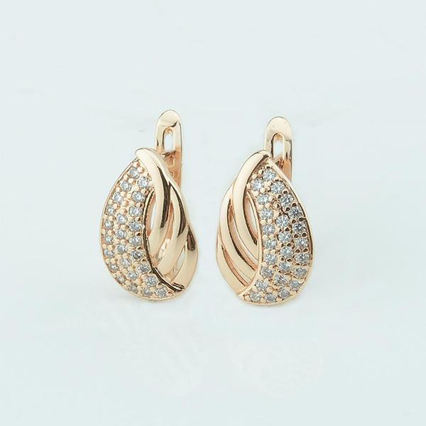 Мода Ювелирные Изделия Женщины 585 Золотой Цвет Мотаться Серьги Хороший Мульти Кристалл Ткачество Овальной Формы Серьги