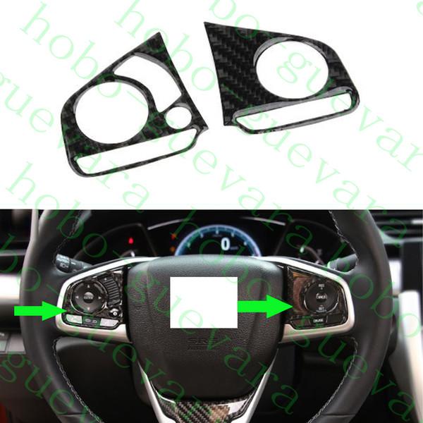 2x Voiture Auto En Fiber De Carbone Couleur Volant Bouton Couverture Garniture Cadres Pour Honda Civic 2016-2018