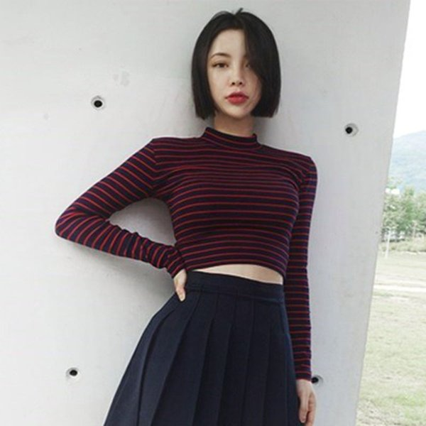 Womens Fashion Harajuku Striped Slim Cropped Top T-shirt 2018 Korean Style Long Sleeve T Shirts
