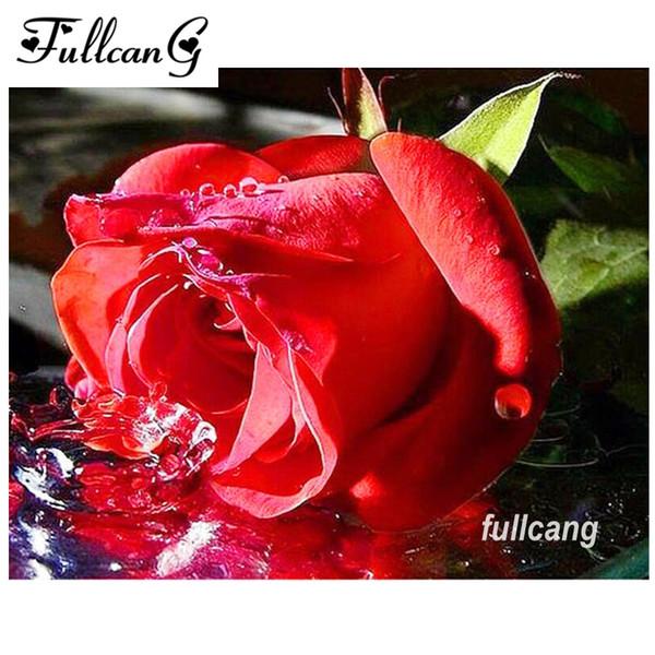 Compre Fullcang Diy Diamante Pintura Ponto Cruz Flores Diamante Bordado Rosa Vermelha Mosaico Quadrado 5d Bordado D358 De Yanlunshop2 181