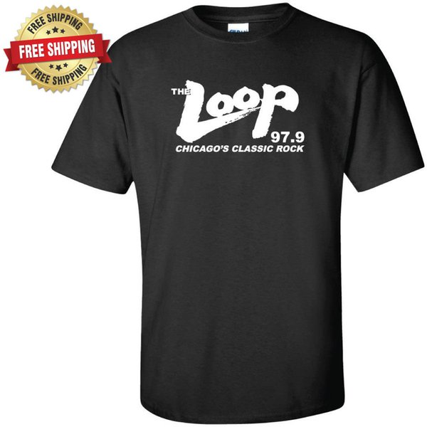 The Loop Chicago'S Classic Rock 97.9 Fm Radio Station Black T-Shirt T Shirt Men Best Design Short Sleeve Crewneck Cotton 3XL Party