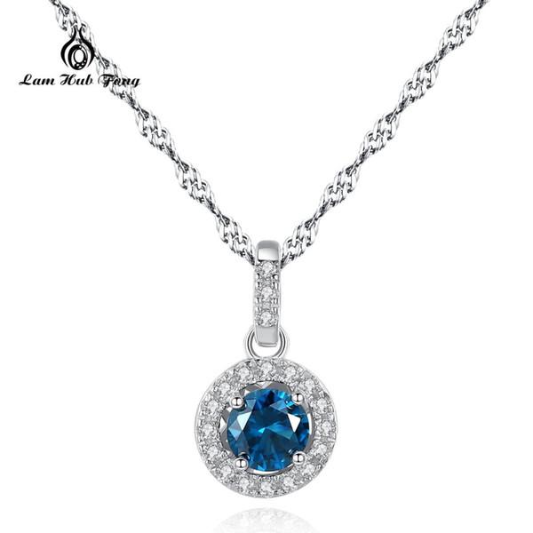 Venta caliente 100% 925 plata esterlina suerte azul rojo verde claro CZ colgante, collar de mujer joyería de plata esterlina de lujo venta al por mayor