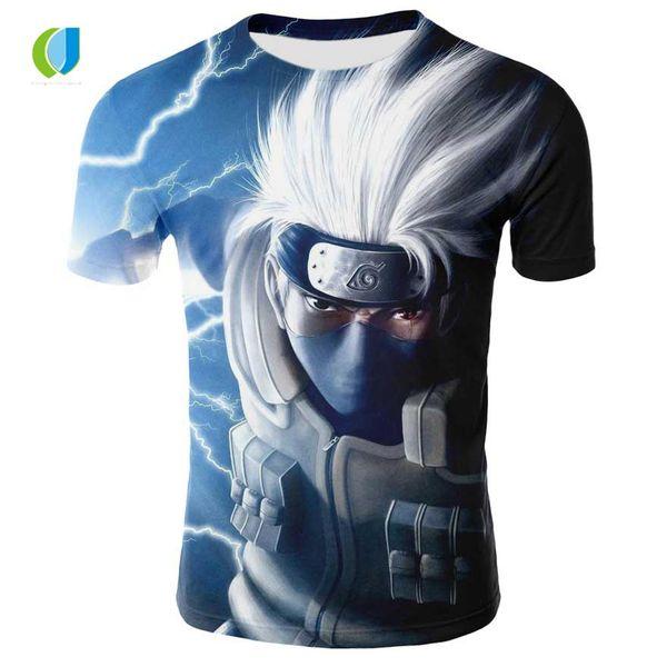 Sommer Marke Kleidung Männer / Frauen T-Shirt Anime Charaktere Naruto Kakashi 3D-Druck Karikatur Naruto Anime Rundhals T-Shirt