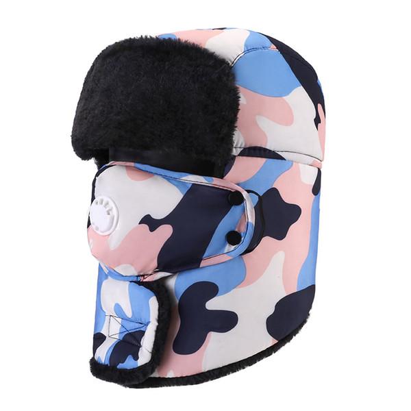 Solid Camo Winter Trapper Hats with Ear Flaps Ushanka Aviator Russian Hat Winter Outdoor Warm Hats for Men Women Skiing Sport Windproof cap