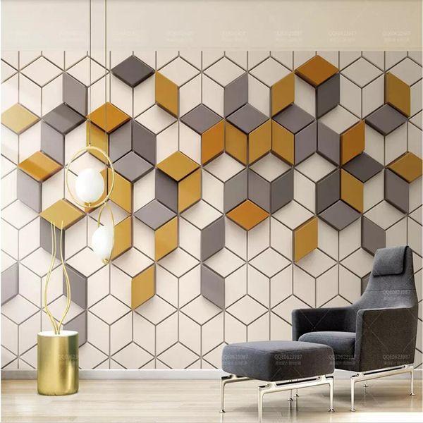 3d Simple Modern Wallpaper Nordic Geometric Square Wallpaper Tv Background Wall Mosaic Mural Graphic Video Wall Wallpapers For Hd Wallpapers For