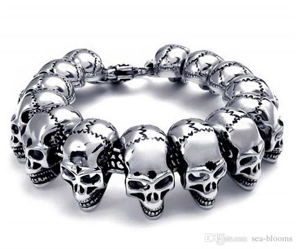 Free DHL Mens Large Heavy Stainless Steel Bracelet Link Wrist Silver Black Skull Cross Gothic Bangle Bracelet for Men Fashion Jewelry G822R