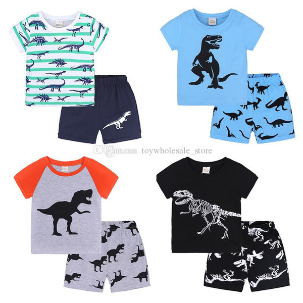 top popular Baby boys dinosaur print outfits children stripe top+shorts 2pcs set 2018 summer suit Boutique kids Clothing Sets 19 colors C4536 2021
