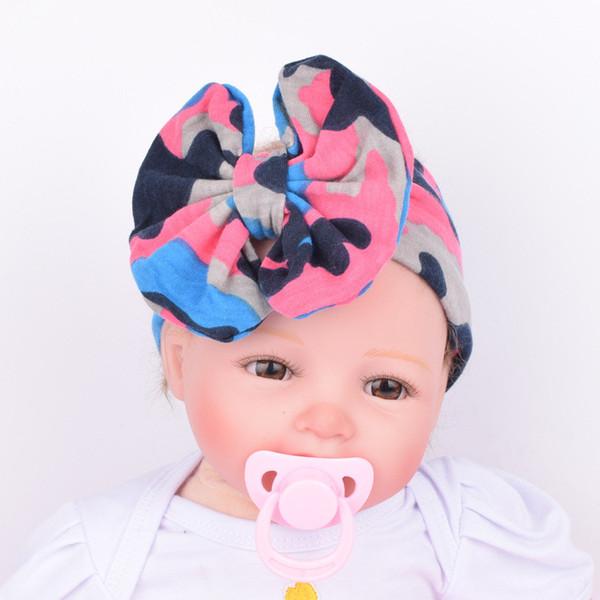 Colorido Boho NewbornToddler Headband Fita Elástica Camuflagem Impressão Bebê Cocar Crianças Faixa de Cabelo Menina Arco Nó Presente de Natal