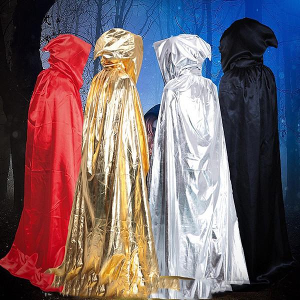 2018 New Halloween Cloak Hooded Cloak Cloaks Costume Death Wizard Dress Up Halloweens Party Decoration Supplies Masquerade Cosplay Unisex