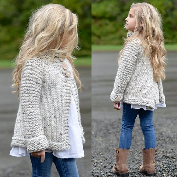 Kids Baby Girls Sweater Fall Winter Warm Knitted Sweater Cardigan Thick Button Coat Jacket New Clothes