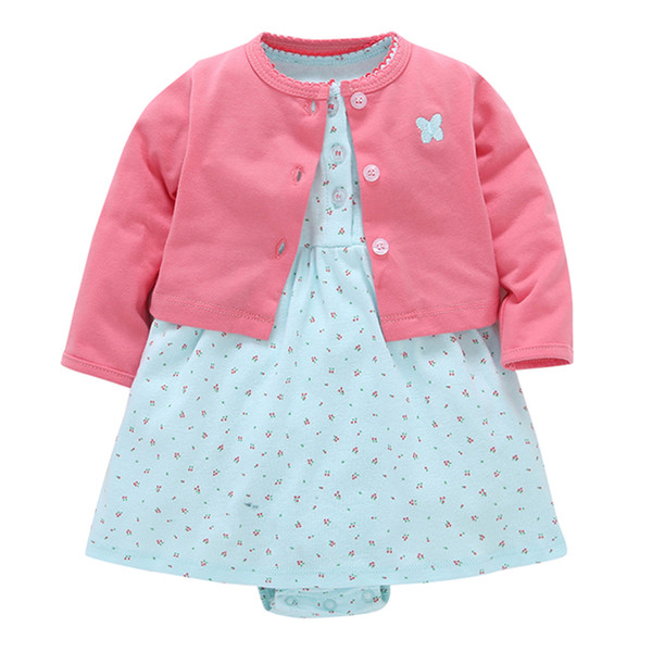 Baby Girls Summer Dress Kids Clothes 2018 Vestido Cotton Long Sleeve Cardigan+Bodysuit Princess Dresses First Birthday Outfit