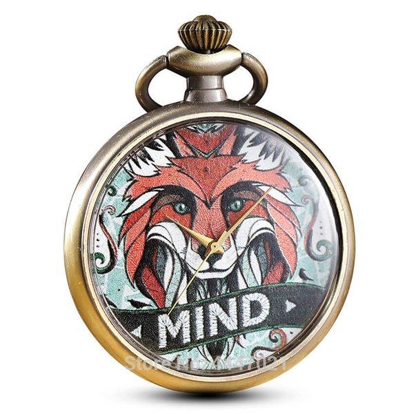 Modern Painted Fox Pocket Watches Womens Men Personalised Pocket Watch Box Quartz Engraved Fob Watches Chains Pendent Kids Watch