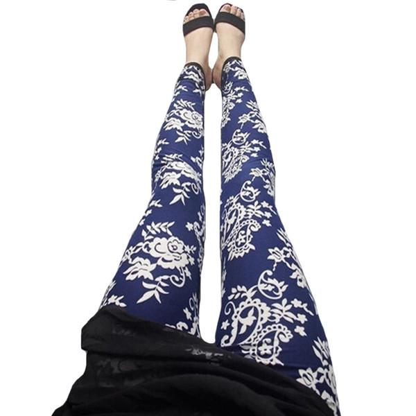 Moda Çiçek Tayt Kadın Giyim Bayan Baskı Pantolon Sıska Elastik Uzun Legging Polyester Ulusal Tarzı Çiçek Ince Leggins