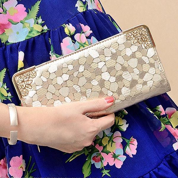 factory wholesale Women's Long Wallets 2018 New Korean Zip Wallets Stone Wallet Handbags money bags Clutch bags