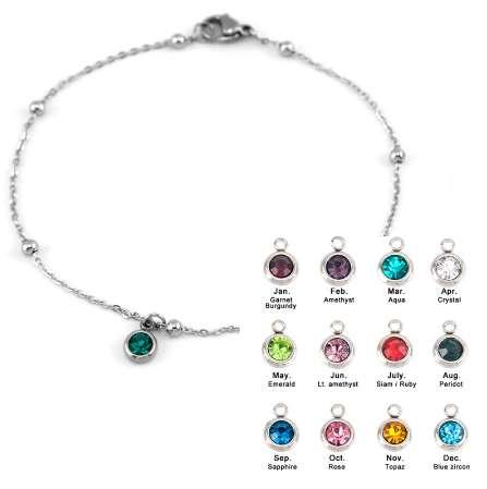 birth stone women 1.2mm thin Anklets space ball Rolo cable chain lucky stone stainless steel foot chain ankle chain