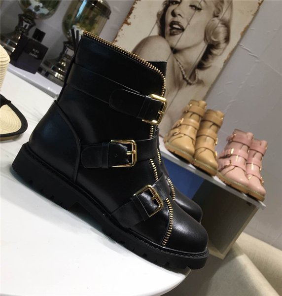 Buckled Ankle Boots For Womens Side Zip Lace-Up Leather Boots Suede Low Heel Round Toe Gold-Tone Hardware Martin Shoes Luxury Brand 32