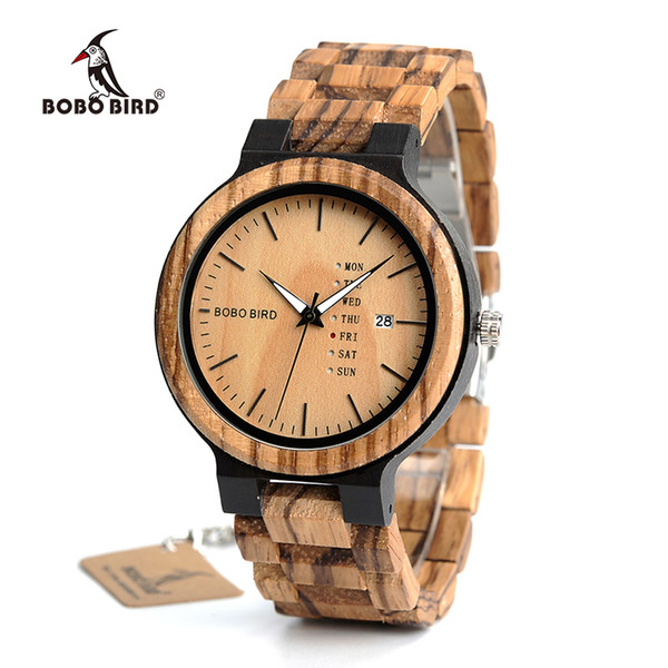 bobo bird wood watch men relogio masculino week and date display timepieces lightweight handmade casual wooden watch v-o26, Slivery;brown