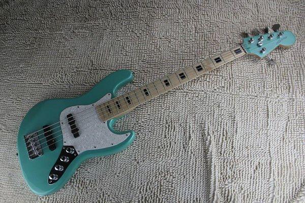 custom New Arrival hot light blue jazz 5 String bass with 9v battery Active Pickups guitar 1221