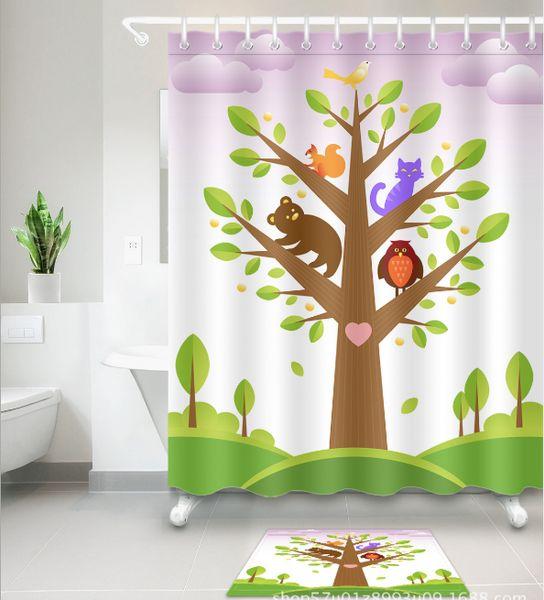 3D Polyester Fabric lovely cartoon Pattern Shower Curtains with 12 Hooks For Bathroom Decor Modern Bath Waterproof Curtain floor mats sets