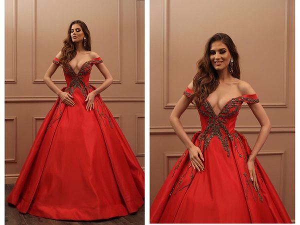Balo Kırmızı Seksi Uzun Gelinlik Modelleri Ucuz Saten V Boyun Akşam elbise Vestidos De Fiesta Parti Elbiseler Ile Boncuk