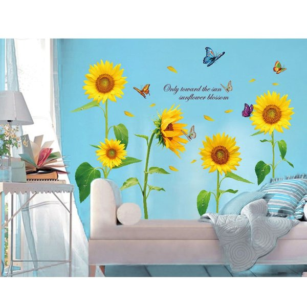 Sunshine Sunflower Butterfly Dancing in Summer Beautiful Removable Wall Stickers DIY Kid's Child