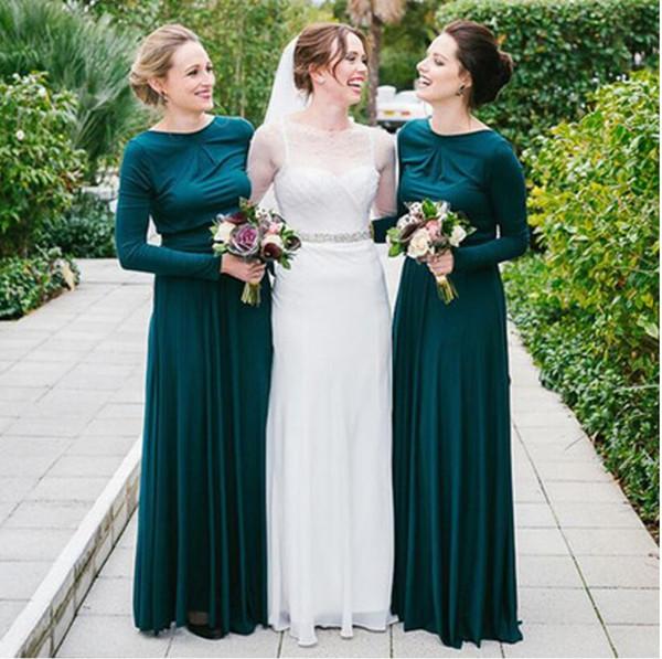 Vestidos de dama de honor vintage de manga larga 2019 Vestidos de dama de honor largos de sirena Vestidos de invitados formales de boda