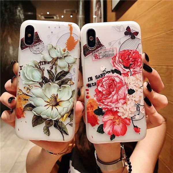 Para Iphone 11 Pro Max 2019 X XS MAX 6,5 '' XR 6.1 '' 8 7 7plus 6 PLUS 6S 3D Flor Matte relevo suave TPU Frosted Floral 100pcs cobrir a pele