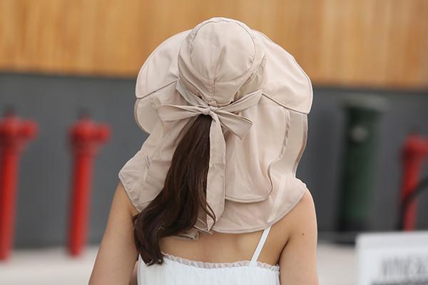 Waterproof Women Foldable Snapback Beach Hat Lady Summer Neck Face Protection Sun Hat Hiking Trip Fishing Cap Panama Female