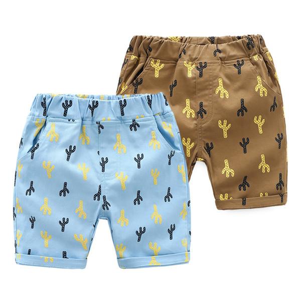 Everweekend Kinder Mädchen Jungen Print Shorts Beach Wear Candy Blau und Braun Farbe Sommer Mode Hosen