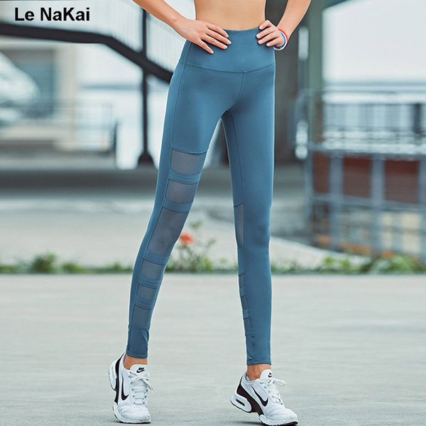 Le NaKai High Waist Mesh yoga pants high quality spandex black yoga legging fitness flex leggings workout solid gym sport tights