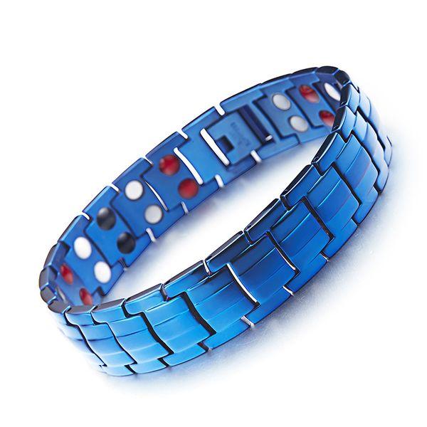 Coolboysgirls Blue Mens Health Bracelets Magnetic H Energy Power Titanium Ion Negtive Charm Bracelet Jewelry for Man