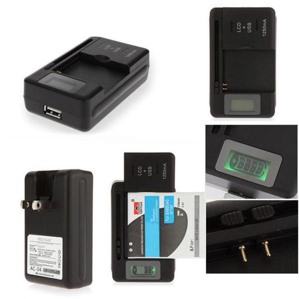 Tela de Indicador LCD Universal Carregador de Bateria Para Telefones Celulares USB-Port Carregador de Bateria Externa Preto para samsung huawei xiaomi
