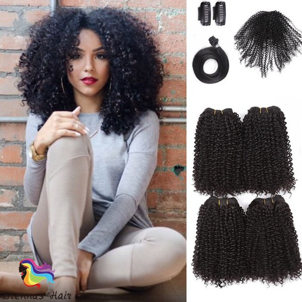 top sale 8pcs/pack afro jerry curl synthetic hair extensionin kinky mini curl afro tiny curly weaves 12inch 16inch for black woman