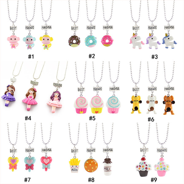 Child cute Best friends forever Necklace Monkey Donuts Princess dog food Ice cream Resin Pendant Bead chain For Children friendship Jewelry