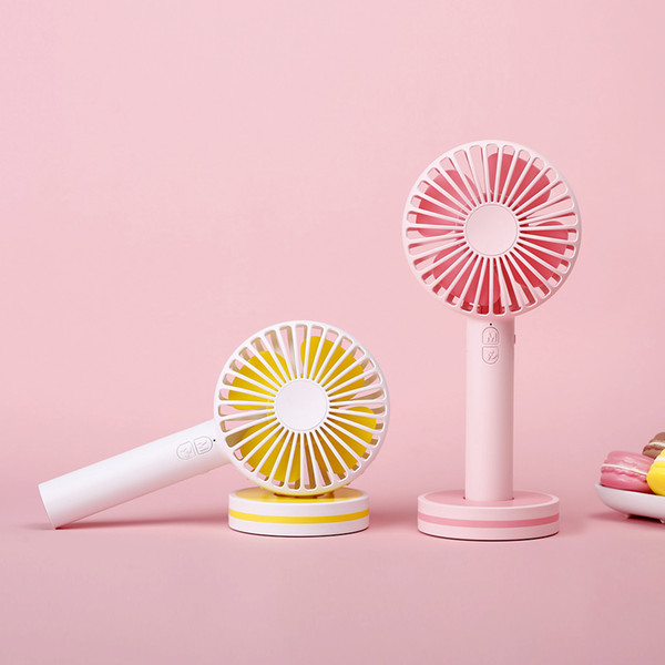 best selling New Candy Colors Macaron Fan Portable Rechargeable Handheld Fan USB Mini Desktop Fan With Mirror For Home Office Outdoor
