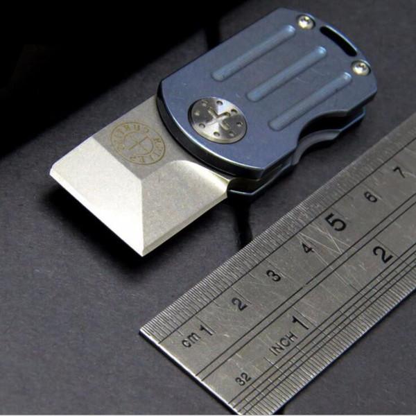 Mini Keychiain Messer Fettblöcke Würfel M390 100% 61HRC stonewashed Klinge Titan Griff Tasche Falten Weihnachtsgeschenk Messer