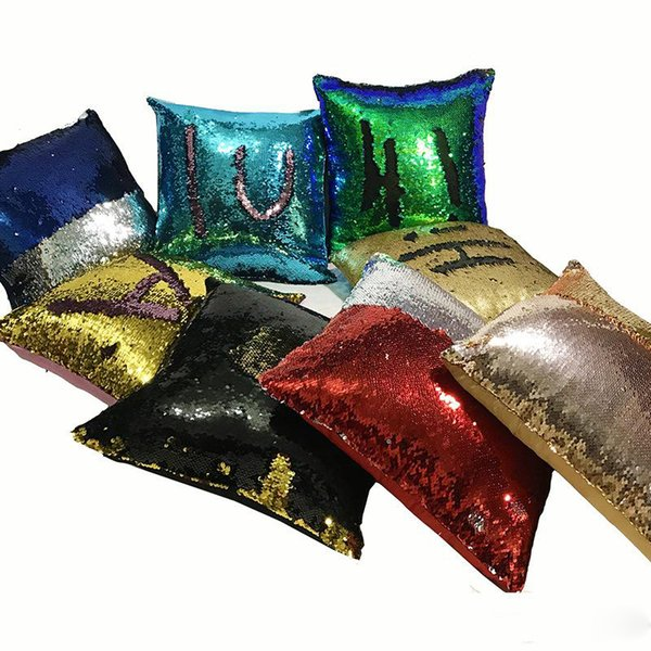 Mermaid Sequins Throw Pillow Case Magic Bling Style Pillow Covers Sofa Bright Glitter Car Cushion For Sofa Bed Fun Decorations 11xa ZZ