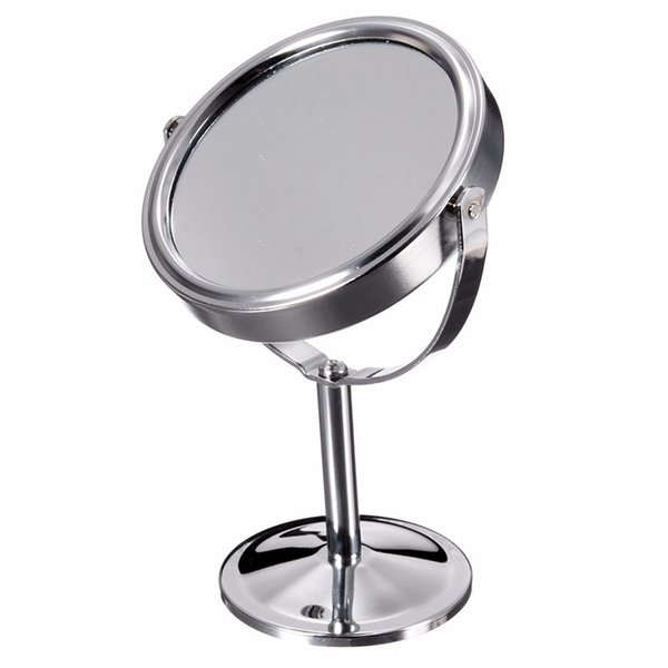 "New 6"" Double Sided Magnifying Mirror 2x Small Round Stainless Steel Mirror Desktop Table Cosmetic Circle Shaving Make Up"