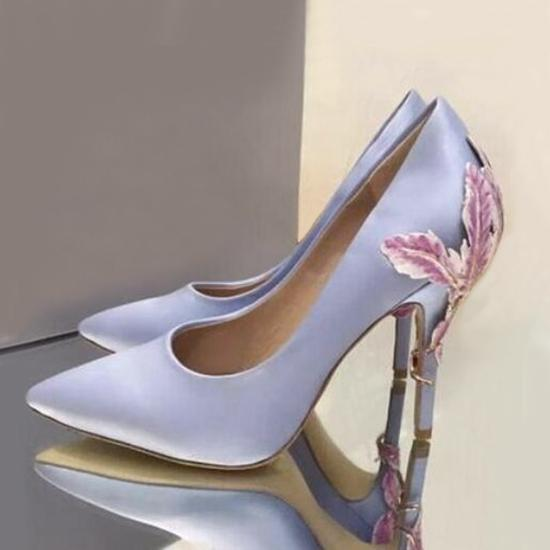 Fashion Pointed Toe Stilettos Party Wedding Shoes Woman Slip On Ladies High Heels Tacones Mujer Metallic Leaves Embellished Satin Silk Pumps