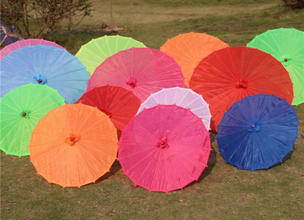 Chinese Colored Fabric Umbrella White Pink Parasols China Traditional Dance Color Parasol Japanese Silk Props 30pcs