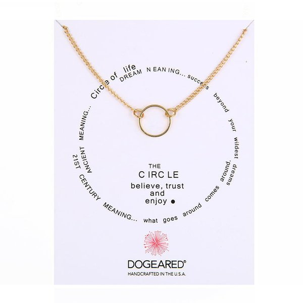 With Card Famous Brand Dogeared LOGO Fashion Jewelry Good Karma Sliding Circle Chain Necklace For Women