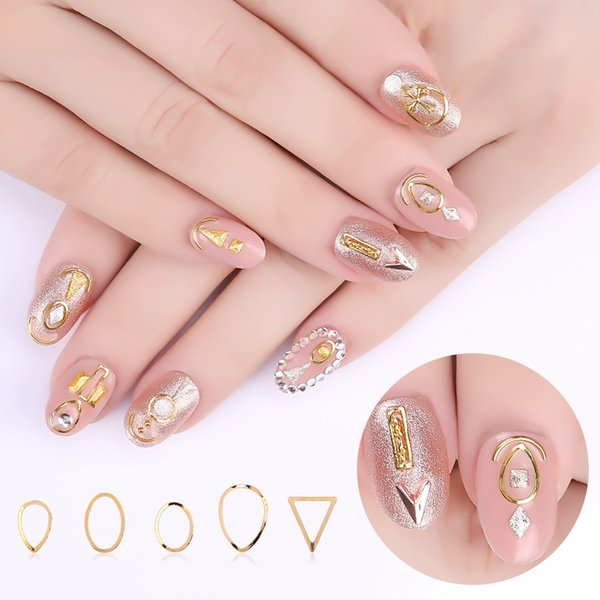 6 Bags/Lot Rose Gold Metallic Mix Multi-shaped Studs Frame Alloy Nail Art Gems Decoration Rhinestones Manicure DIY Tips