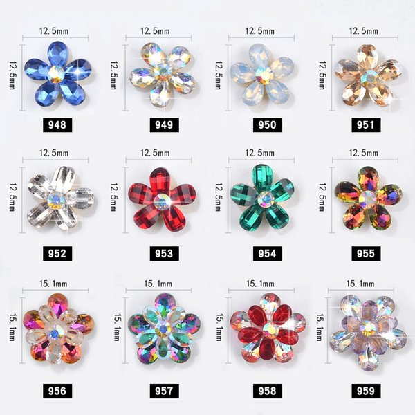 12 Color 3D nail art Crystal Flower shape Glass Rhinestones for nails decoration Charm jewelry design nail art accessories